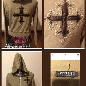 Bisou Bisou Green Hoodie BLING Gothic Cross